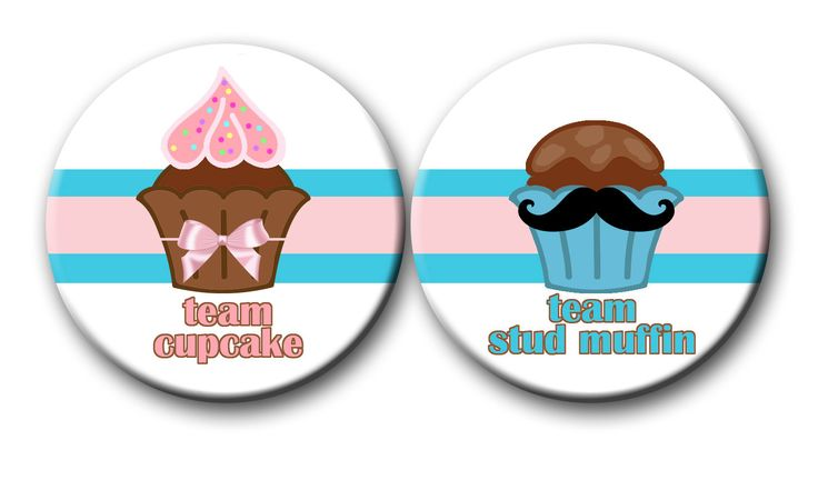 Cupcake or Stud Muffin Gender Reveal Party Favors 2.25 inch Pinback Buttons pin badges Team Cupcake Team Stud Muffin pink blue by PutOnYourPartyCap on Etsy