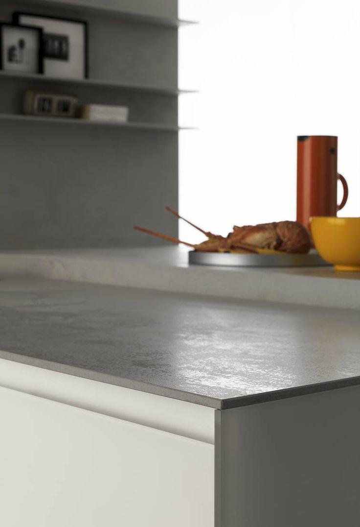 "Zampieri - #Glasstone kitchen with pearl oxide ""Laminam"" top."