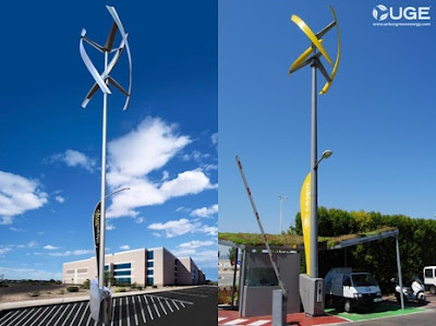 "Sanya Skypump is the world's first electric car charging station that use wind turbines from UGE (Urban Green Energy) and GE Energy.    The existing wind turbines can produce 4 kW of electrical energy and its ""propeller"" design is using Dual-Axis Technology to ensures that each propeller can produce better electrical energy than a conventional propeller."