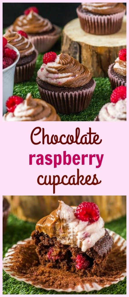 Chocolate raspberry swirl cupcakes - moist swirl cupcakes with real chocolate and fresh raspberries in batter and in icing