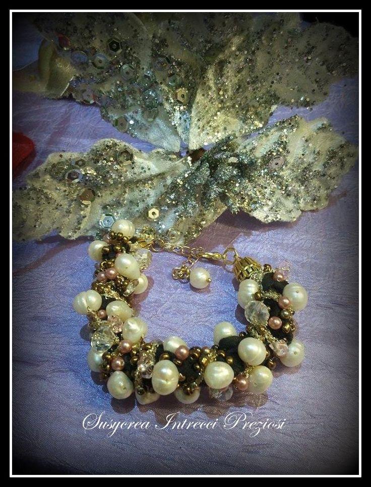 Bracciale fettuccia e perle naturali