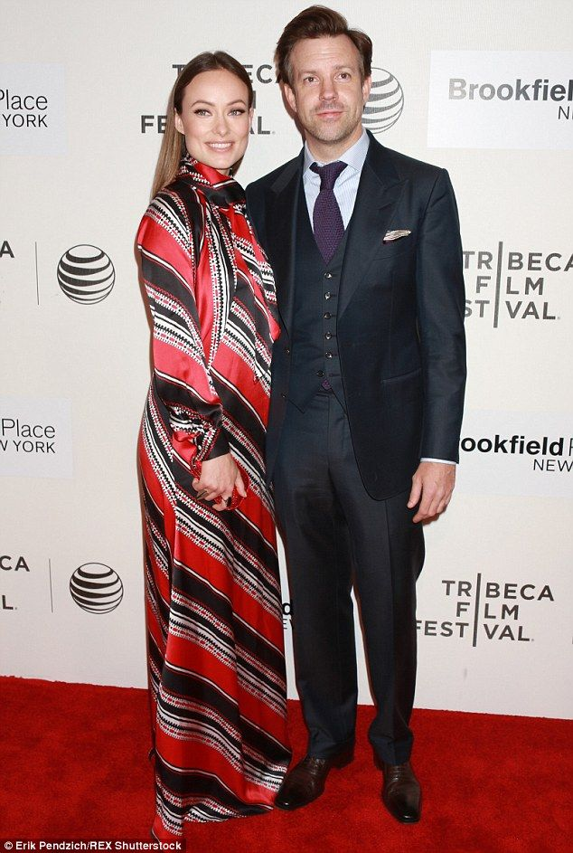 Hot couple: The 30-year-old was joined by her fiance Jason Sudeikis for the premiere of his film Tumbledown