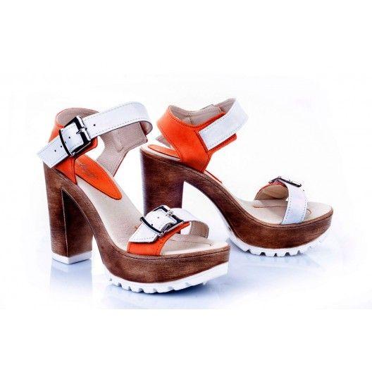 Dámske kožené sandále bielo-oranžovej farby - fashionday.eu