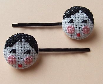 Cross-Stitch Dolly Girl Hair Slides  by Magasin #Doll #Hair_Accesories #Magasin #Dolly_Girl