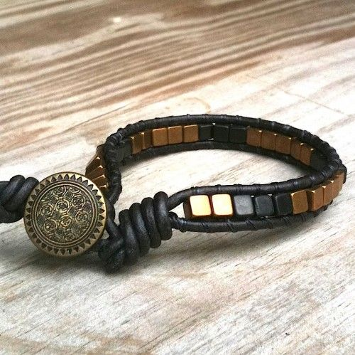 Boss Leather Single Wrap Bracelet Br Cubes Gold Black Beads Mens Townofbeadrock Jewelry On Artfire Crafty Beading Pinterest