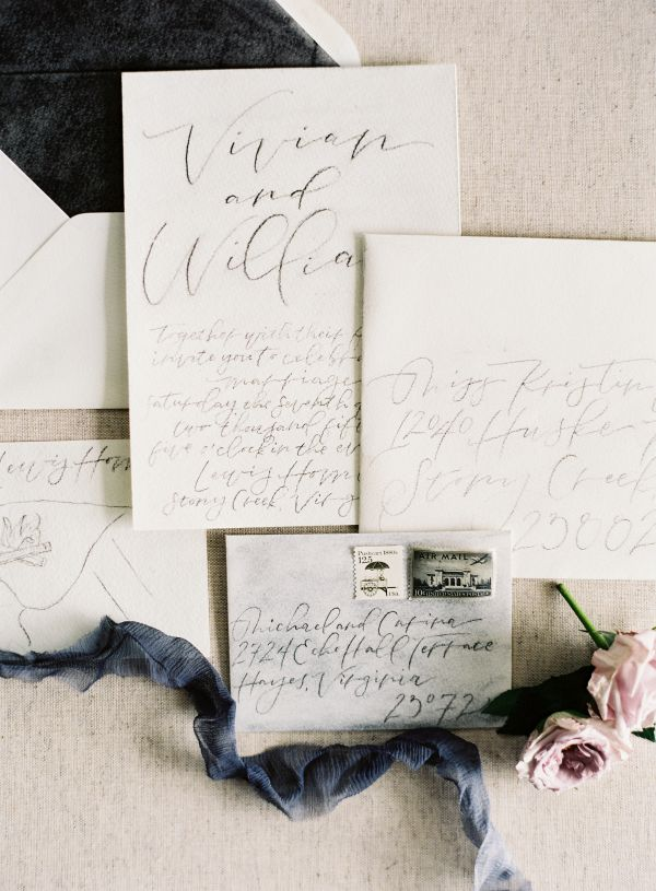 Dark Slate Blue Wedding Invitations | photography by http://www.michaelandcarina.com
