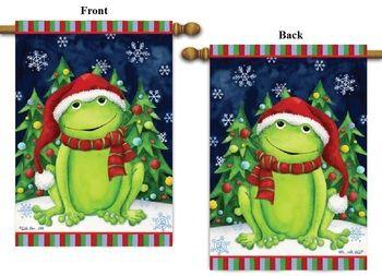 """Christmas Frog Christmas Banner House Flag, Size 28"""""""" x 40"""""""""""