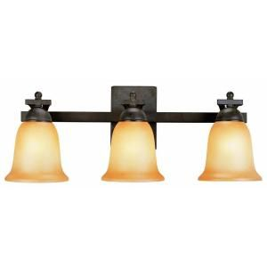 Commercial Electric Rustic Iron 3 Light Vanity With