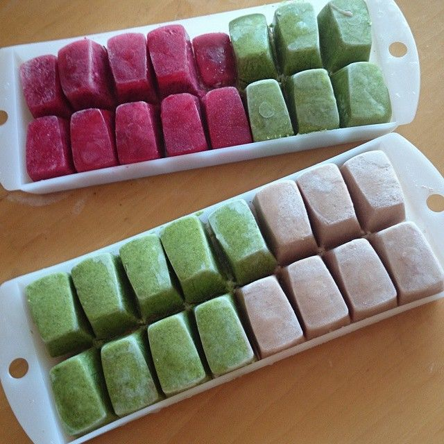 so smoothie cubes are my new fave thing and an easy way to get nutrients in - just blend leafy greens or fruits with water or your fave non dairy milk, pour into ice cube trays and freeze {these ones are -spinach kale and almond milk-, -blueberries raspberries and water-, -mango and almond milk-}… Blended three of each cube with two.cups of coconut water for a yummo smoothie!