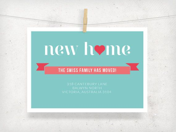 Moving Announcement Card. New Home Announcement Card, Custom Design - Printable. A lovely design that can be tailored to suit your style | Gracious Me