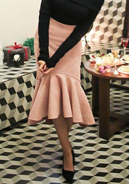 Graceful Solid Color Flounced Asymmetrical Women's Fishtail Skirt Skirts | RoseGal.com