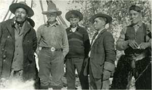 The Mountain Metis. Adolphus Moberly, Tom Groat, Phillip Delorme (Louis Delorme's uncle), Dolphus Joachim, William (Bill) Moberly.