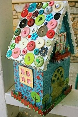 Kinda cute if you need to add some color to your tree Button roof Birdhouse... hmmm... wonder if the birds would like it....
