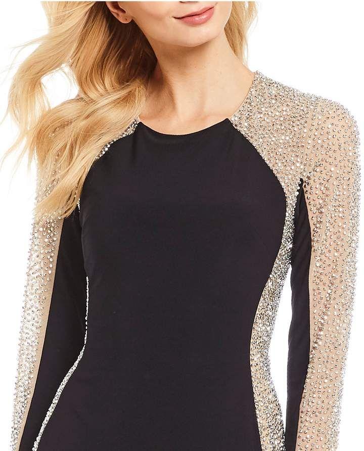 657c4166 Xscape Evenings Caviar Beaded Illusion Gown #Caviar#Evenings#Xscape ...