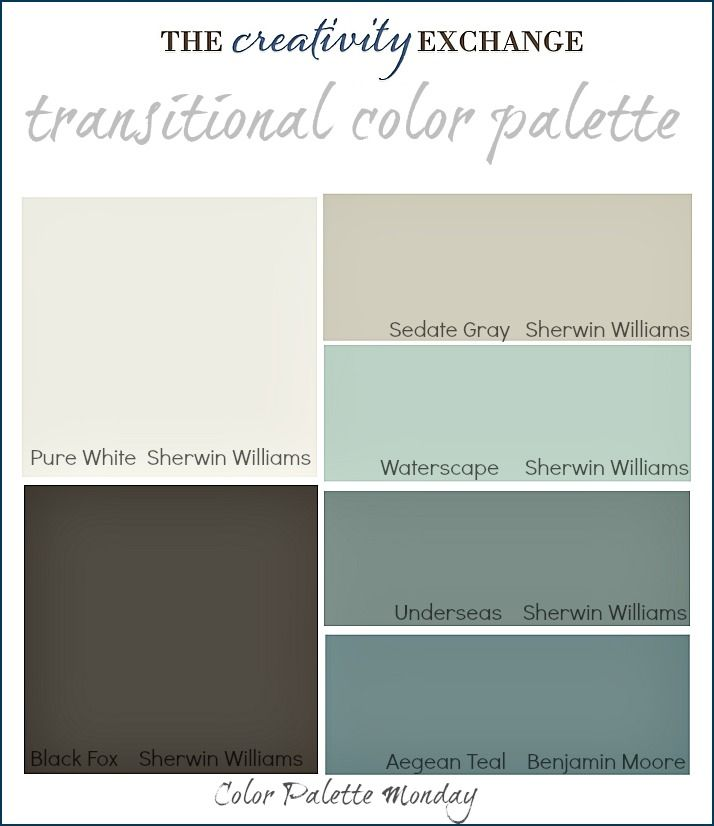 Transitional Paint Color Palette with images of rooms painted in these colors. {Color Palette Monday #3} The Creativity Exchange.  Love these colors for my craft space!