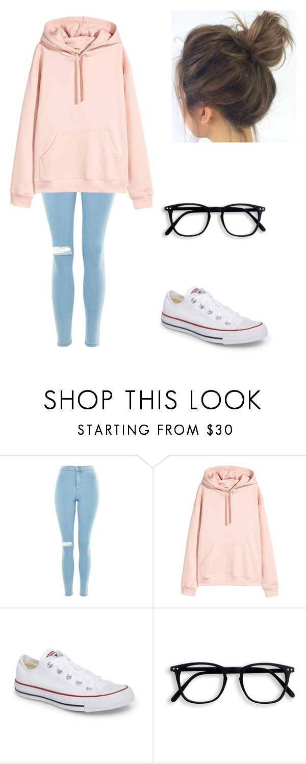 """Untitled #80"" by blossom03 ❤ liked on Polyvore featuring Topshop and Converse"