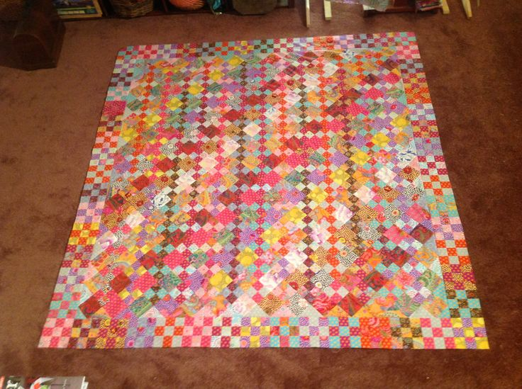 Kaffe Fassett Diagonal Madness. Finally it's a flimsy! Took me forever to get around to making this. But I have 3 others that I need to quilt for Christmas first then I'll get to this one:)