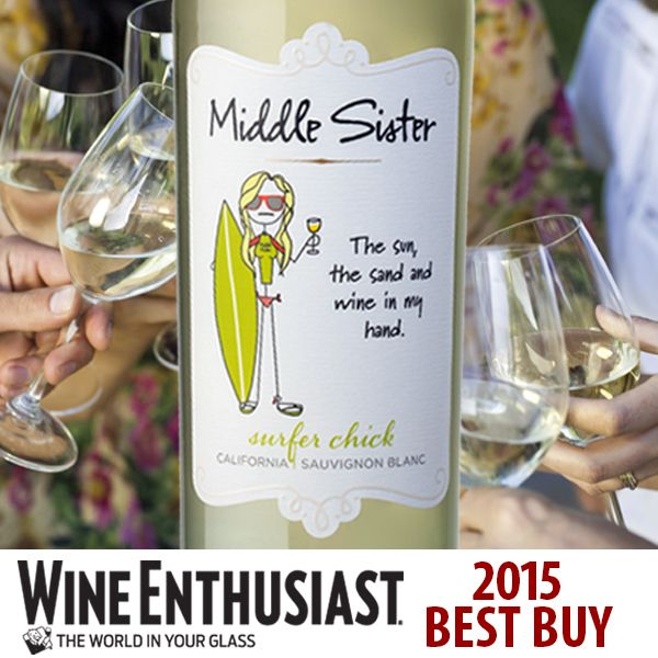 Summer is never far away when Middle Sister Surfer Chick Sauvignon Blanc is around! She brings the sun and surf everywhere she goes. AND Wine Enthusiast designated her a 2015 Best Buy!  Find Middle Sister Surfer Chick Sauvignon Blanc and all of the Middle Sister wines near you: http://middlesisterwines.com/find-wines