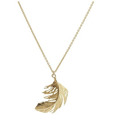 Alex Munroe feather necklace. A similar gold feather necklace - January 2015 stitch fix