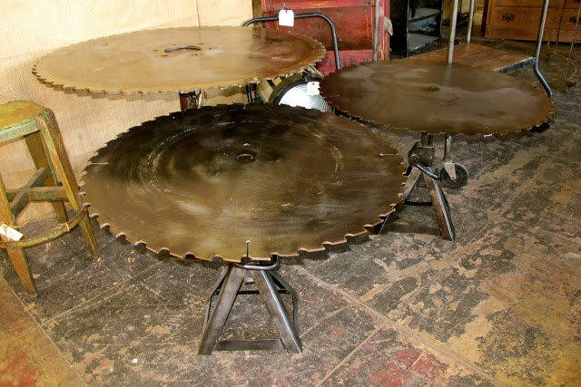 Industrial Tables Made From Saw Blades Sanded Down From