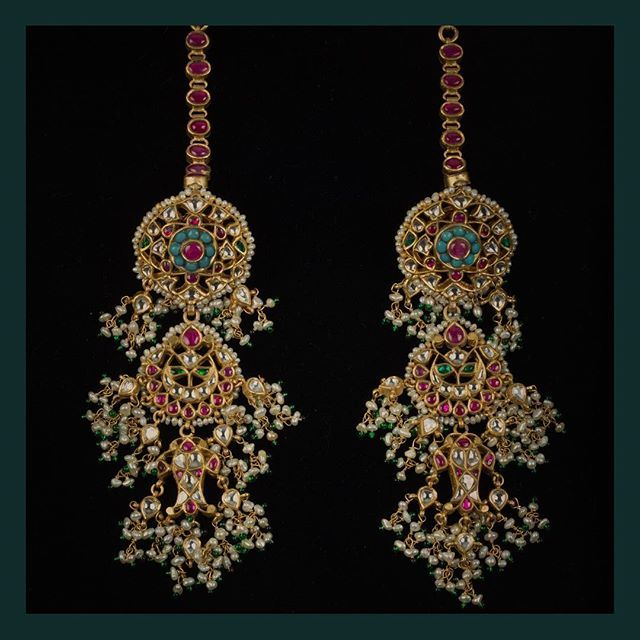 Jewellery & Watches Hair & Head Jewellery Objective Indian Ethnic Gold Tone Pearl Beads Chand Bali Earring Wedding Jewelry Beautiful And Charming