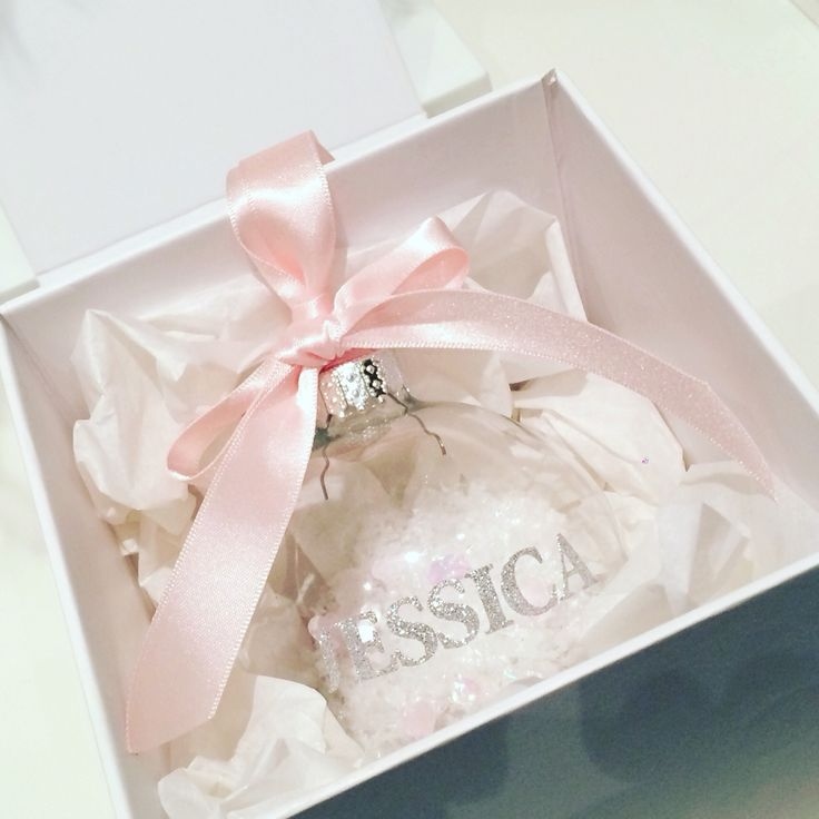 Personalised Christmas Bauble complete with luxury gift box.