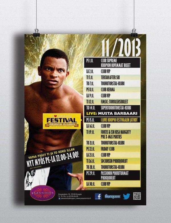"Nightclub Passion Club -Kuopio - monthly events poster ""Musta Barbaari"" by Ville Palmu, via Behance"