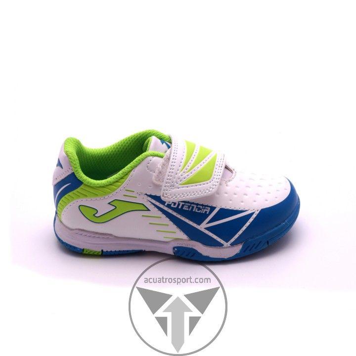 Botas de futbol sala de Joma modelo tactil en colores azul y blanco para niño.   Fabricadas en fibra sintética para una mayor durabilidad.   Suela con óptimo agarre en superficies indoor.   Cierre con velcro para un fácil atado.   Suela con refuerzos en las zonas de abrasión.