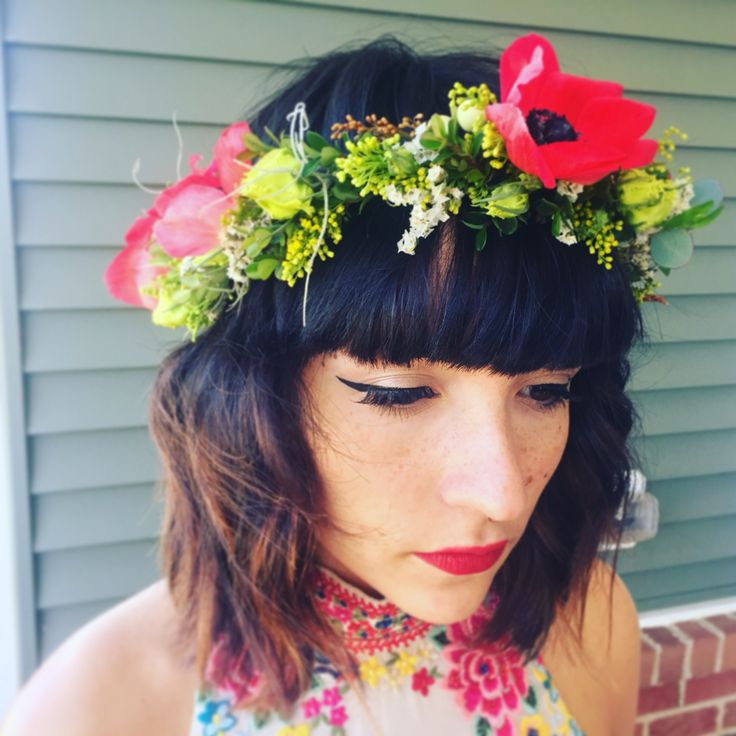Prom floral crown! Anemones, moss,lisianthus by Mya Frey
