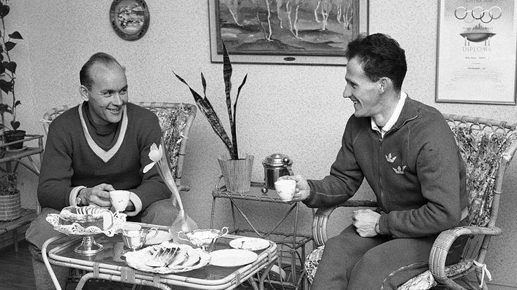 Veikko   Hakulinen (4 January 1925 – 24 October 2003),   Finnish forestry technician and cross country skier, triple champion in both the olympics and world championship competition in cross country skiing.  -  http://en.wikipedia.org/wiki/Veikko_Hakulinen  ||  Photo: Veikko Hakulinen (left)    and Sixten Jernberg (1959) -  http://www.mtv.fi/sport/hiihtolajit/maastohiihto/artikkeli/ruotsalainen-hiihtajalegenda-kuollut/3735738
