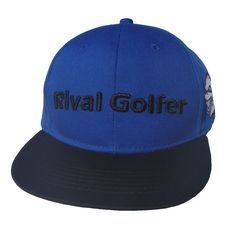 Flat Brim Hat  This one has been a hot seller. Classic colours of blue & black work well. #golf #golfhat #golfwear #golfaccessories #accessories #hat #golfhat