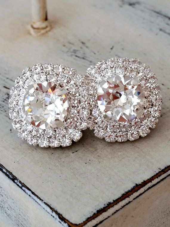Clear crystal earrings,Silver bridal earrings,Large stud earrings,silver bridesmaid gift,silver wedding,Swarovski earrings,halo,silver gold by EldorTinaJewelry on Etsy | http://etsy.me/2jx4Hm9