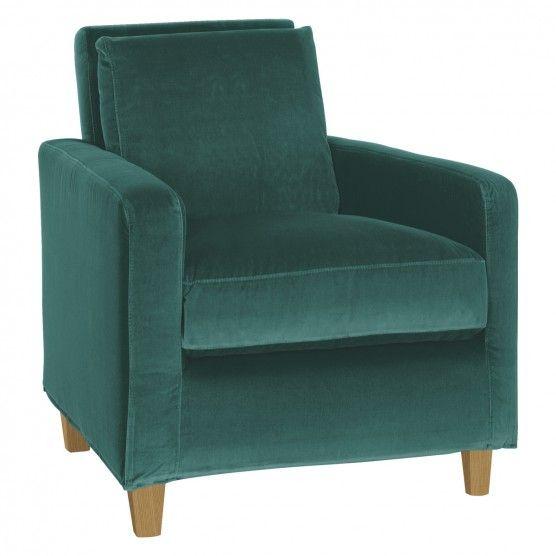 CHESTER Emerald green velvet armchair, oak stained feet | Buy now at Habitat UK