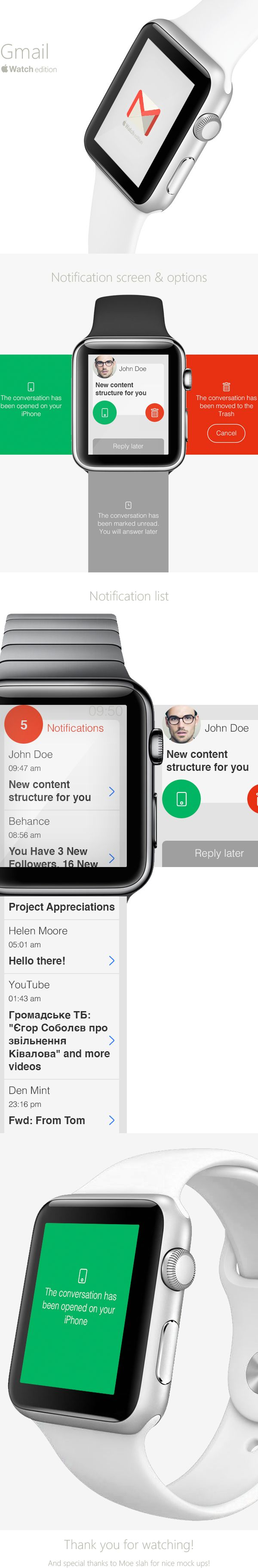 Gmail Apple Watch Concept on Behance