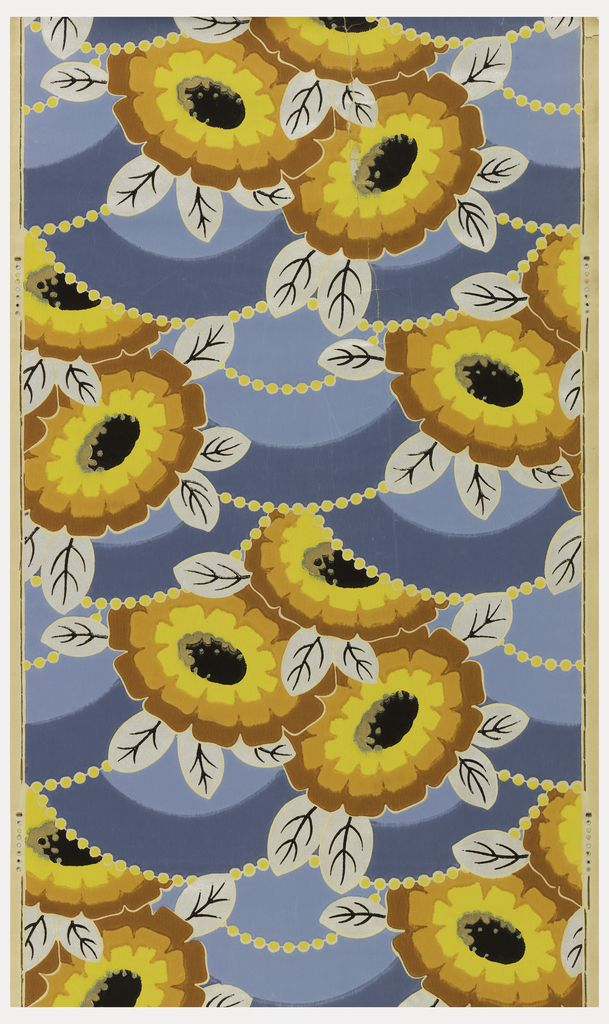 Sidewall | France, ca. 1925 | Machine-printed on paper | Large flowers printed in yellow, orange and brown with silver leaves. Printed on a blue background with yellow strung beads. Art Deco style | Cooper-Hewitt