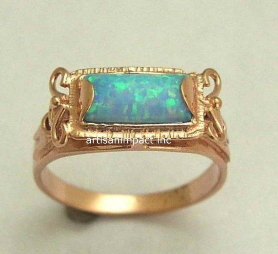 14K Rose Gold and Opal Ring, rectangle gemstone ring, engagement ring, wedding ring, antique style ring - The sky is the limit. RG1400-2