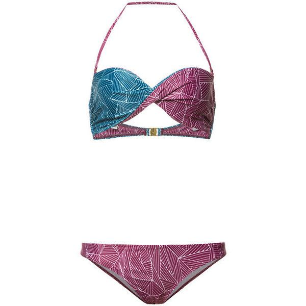 Thorsun Purple Two-Piece Lo Bikini ($285) ❤ liked on Polyvore featuring swimwear, bikinis, purple, 2 piece bathing suits, two piece bikini, bathing suits bikini, purple swimsuit and bandeau tops
