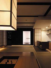 千里中央の家 マンションのデザインリフォーム リビング 夜景