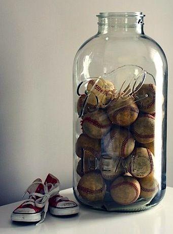 vintage boys baseball theme room with jar of baseballs