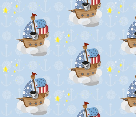 Elephant pirate fabric by bussybuffu on spoonflower for Kids pirate fabric