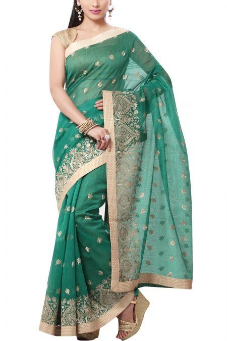 Green & Beige Embroidery Hand-loom Net Saree