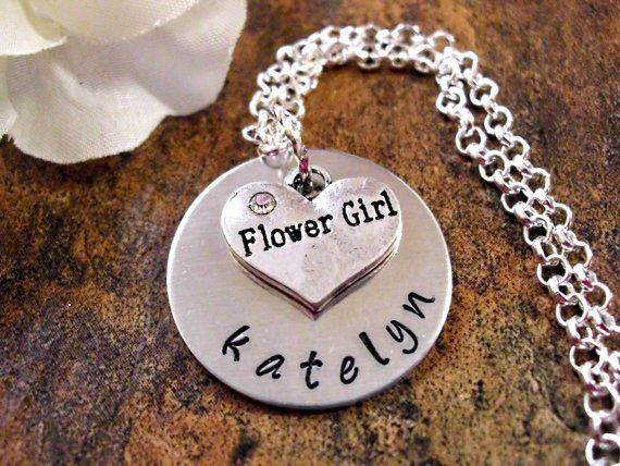 Personalised flower girl necklace - see more ideas at http://themerrybride.org/2014/09/06/ideas-for-personalising-your-wedding/