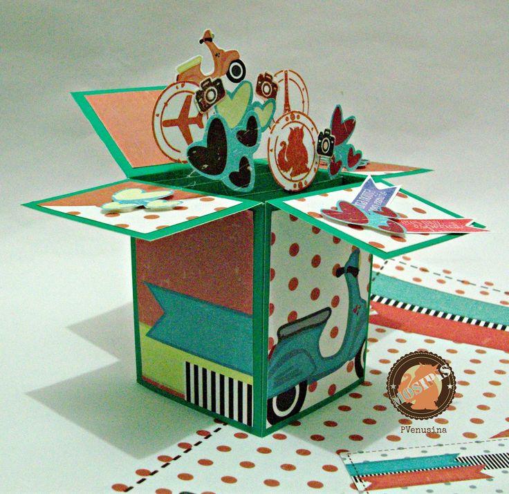 Tarjeta-caja sorpresa con temática de viaje - Colección Shabby Chris.