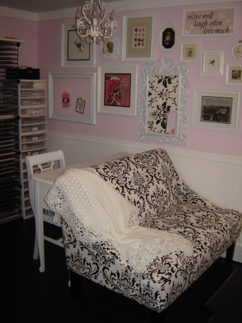 Here is the settee, desk area of my craft room. I have since finished my small pillows I have on the settee. They are made from the same pink & white chenille bedspread that the bench cover is made from.