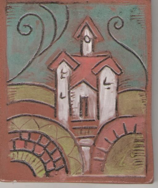 Carved and painted terracotta tile with Church - by Bella Odendaal