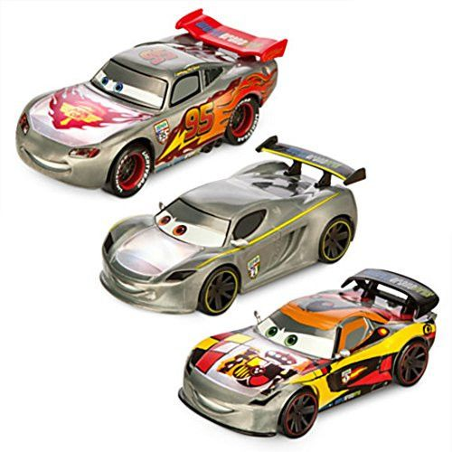 Cars Silver Light-Up Die Cast 3 Cars Set Lewis Hamilton, Lightning McQueen, Miguel Camino Disney Pixar Toy For Boys