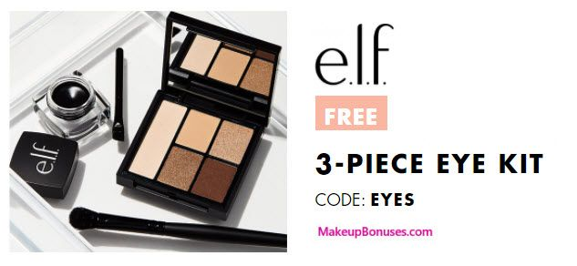 ELF Cosmetics 3-piece Free Bonus Gift with $25 Purchase & Promo Code EYES at ELF Cosmetics - details at MakeupBonuses.com #elfcosmetics #freebie #makeup #beauty #GWP