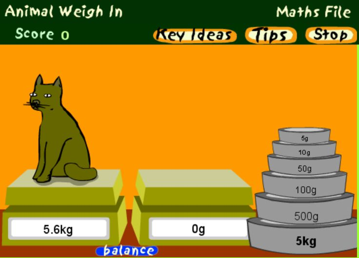 Animal Weigh-in Game: drag the weights onto the empty scales to match the weight of the animal. (customary or metric measurements) Click on the balance button to check your answer. Students would love this free online game!