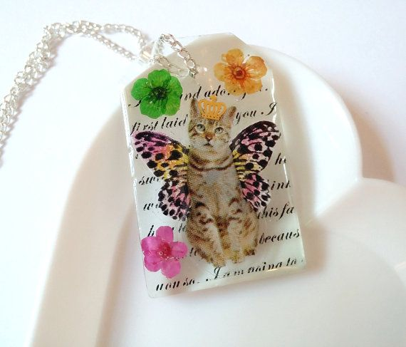Resin Necklace Resin Pendant Resin Charm by LittleWoolShop on Etsy, $15.00