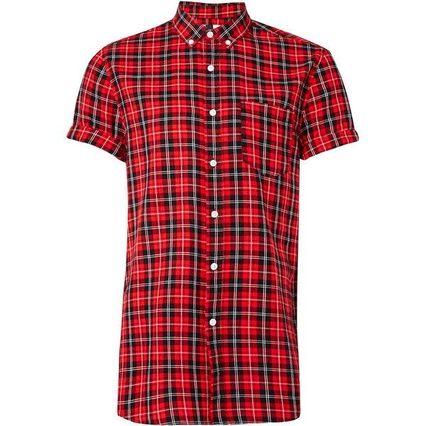 TOPMAN Red/Black Short Sleeve Casual Check Shirt ($37) ❤ liked on Polyvore featuring men's fashion, men's clothing, men's shirts, men's casual shirts, mens short sleeve shirts, mens checkered shirts, mens cotton shirts, mens red checked shirt and mens checked shirts